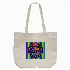 Rainbow Flower Of Life In Black Circle Tote Bag (Cream)