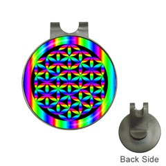 Rainbow Flower Of Life In Black Circle Hat Clips with Golf Markers