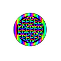 Rainbow Flower Of Life In Black Circle Hat Clip Ball Marker