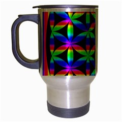 Rainbow Flower Of Life In Black Circle Travel Mug (silver Gray)