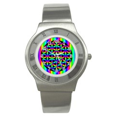 Rainbow Flower Of Life In Black Circle Stainless Steel Watch