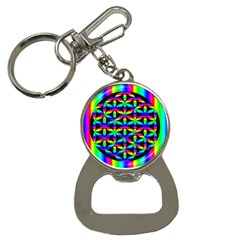 Rainbow Flower Of Life In Black Circle Button Necklaces