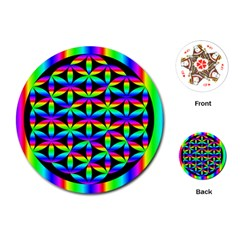 Rainbow Flower Of Life In Black Circle Playing Cards (round)