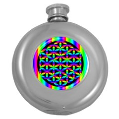 Rainbow Flower Of Life In Black Circle Round Hip Flask (5 Oz)