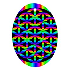 Rainbow Flower Of Life In Black Circle Oval Ornament (two Sides)