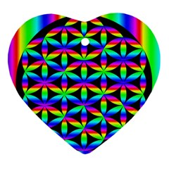 Rainbow Flower Of Life In Black Circle Heart Ornament (two Sides)