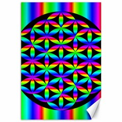 Rainbow Flower Of Life In Black Circle Canvas 12  x 18