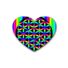 Rainbow Flower Of Life In Black Circle Heart Coaster (4 pack)