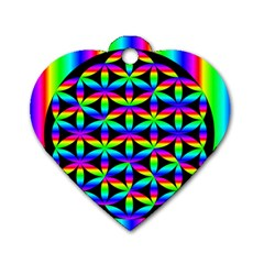 Rainbow Flower Of Life In Black Circle Dog Tag Heart (one Side)