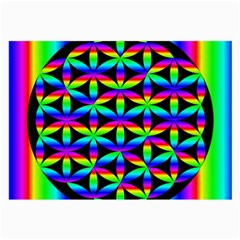 Rainbow Flower Of Life In Black Circle Large Glasses Cloth (2-Side)
