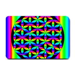 Rainbow Flower Of Life In Black Circle Small Doormat