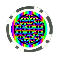 Rainbow Flower Of Life In Black Circle Poker Chip Card Guard