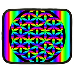 Rainbow Flower Of Life In Black Circle Netbook Case (large)