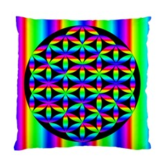 Rainbow Flower Of Life In Black Circle Standard Cushion Case (one Side)