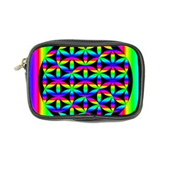Rainbow Flower Of Life In Black Circle Coin Purse