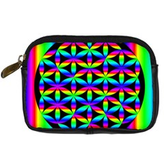 Rainbow Flower Of Life In Black Circle Digital Camera Cases