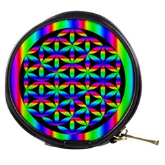 Rainbow Flower Of Life In Black Circle Mini Makeup Bags