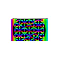 Rainbow Flower Of Life In Black Circle Cosmetic Bag (small)