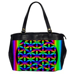 Rainbow Flower Of Life In Black Circle Office Handbags