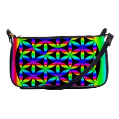 Rainbow Flower Of Life In Black Circle Shoulder Clutch Bags