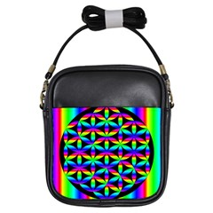 Rainbow Flower Of Life In Black Circle Girls Sling Bags