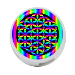 Rainbow Flower Of Life In Black Circle 4 Port Usb Hub (one Side)