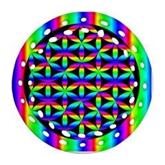 Rainbow Flower Of Life In Black Circle Round Filigree Ornament (Two Sides)