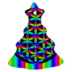 Rainbow Flower Of Life In Black Circle Christmas Tree Ornament (Two Sides)