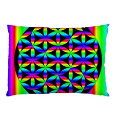 Rainbow Flower Of Life In Black Circle Pillow Case (two Sides)