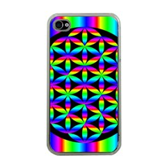 Rainbow Flower Of Life In Black Circle Apple iPhone 4 Case (Clear)