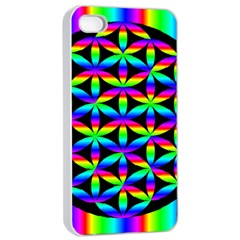 Rainbow Flower Of Life In Black Circle Apple iPhone 4/4s Seamless Case (White)