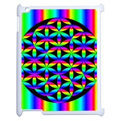 Rainbow Flower Of Life In Black Circle Apple Ipad 2 Case (white)
