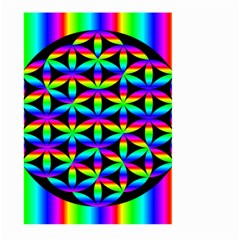 Rainbow Flower Of Life In Black Circle Large Garden Flag (two Sides)