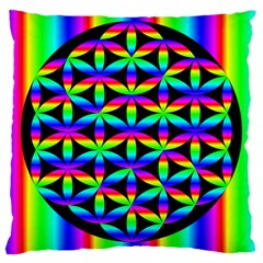 Rainbow Flower Of Life In Black Circle Large Cushion Case (two Sides)