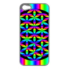 Rainbow Flower Of Life In Black Circle Apple Iphone 5 Case (silver)