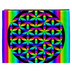 Rainbow Flower Of Life In Black Circle Cosmetic Bag (XXXL)
