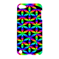 Rainbow Flower Of Life In Black Circle Apple iPod Touch 5 Hardshell Case