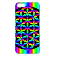 Rainbow Flower Of Life In Black Circle Apple Seamless Iphone 5 Case (color)