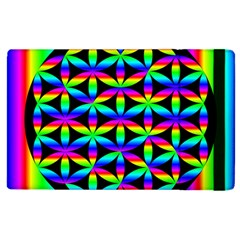 Rainbow Flower Of Life In Black Circle Apple Ipad 3/4 Flip Case