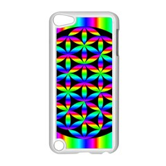 Rainbow Flower Of Life In Black Circle Apple Ipod Touch 5 Case (white)