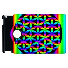 Rainbow Flower Of Life In Black Circle Apple Ipad 2 Flip 360 Case