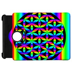 Rainbow Flower Of Life In Black Circle Kindle Fire Hd 7