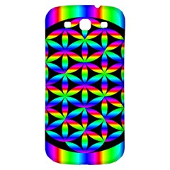 Rainbow Flower Of Life In Black Circle Samsung Galaxy S3 S Iii Classic Hardshell Back Case