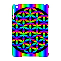 Rainbow Flower Of Life In Black Circle Apple Ipad Mini Hardshell Case (compatible With Smart Cover)