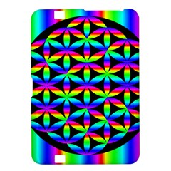Rainbow Flower Of Life In Black Circle Kindle Fire Hd 8 9