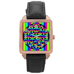 Rainbow Flower Of Life In Black Circle Rose Gold Leather Watch