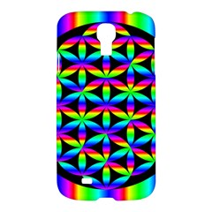 Rainbow Flower Of Life In Black Circle Samsung Galaxy S4 I9500/i9505 Hardshell Case