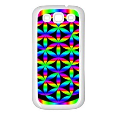 Rainbow Flower Of Life In Black Circle Samsung Galaxy S3 Back Case (white)