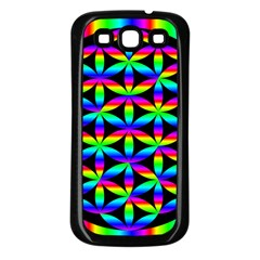 Rainbow Flower Of Life In Black Circle Samsung Galaxy S3 Back Case (black)