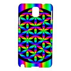 Rainbow Flower Of Life In Black Circle Samsung Galaxy Note 3 N9005 Hardshell Case